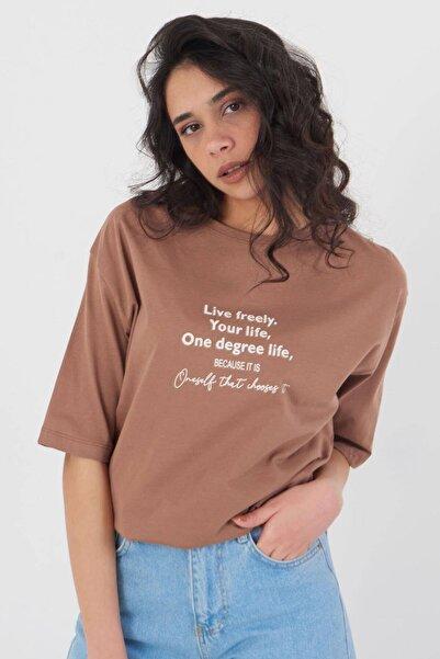 Addax Yazı Detaylı T-shirt P4021 - W3
