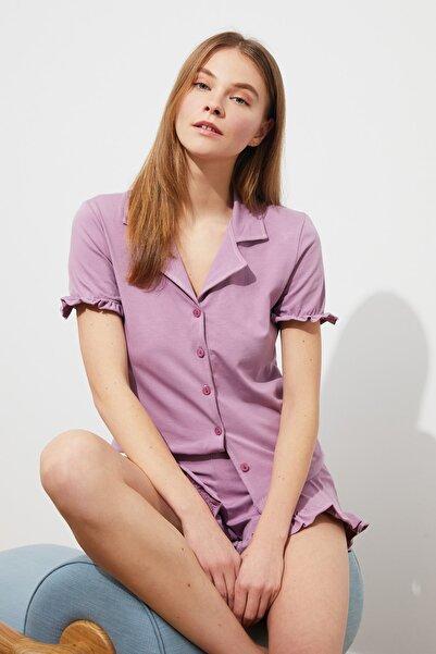 TRENDYOLMİLLA Lila Fırfırlı Örme Pijama Takımı THMSS20PT0402