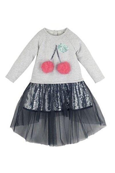 Mamino Kız Çocuk Gri Kiraz Elbise