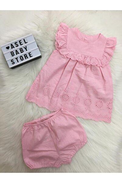 Bebetto Kız Bebek Pembe Dokuma Elbise 2'li Takım