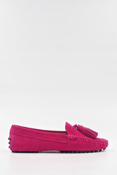 West To West Kadın Fuşya Deri Süet Loafer Ayakkabı