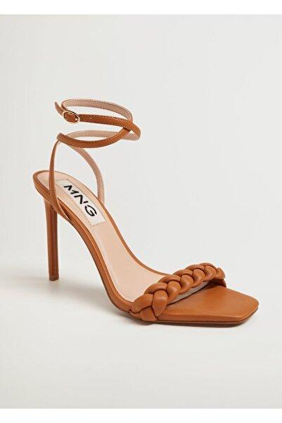 MANGO Woman Örgü Bantlı Topuklu Sandalet