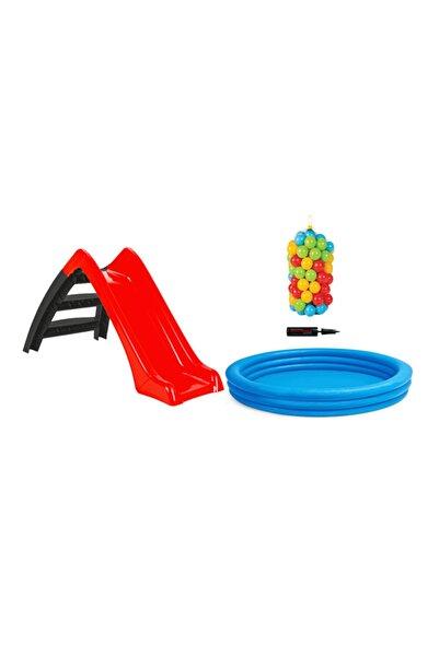 VARDEM OYUNCAK Kaydıraklı +100 Toplu +mavi Havuz (114x25cm) +Pompa Oyun Seti