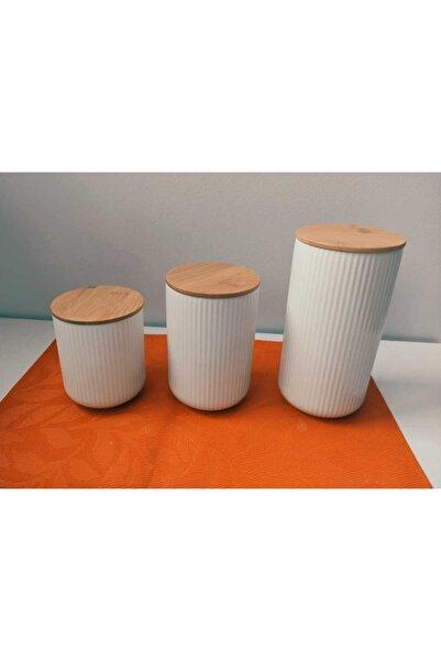 Bycomo 3' Lü Bambu Kapaklı Porselen Beyaz Saklama Kavanoz