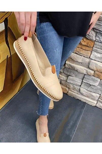 DİVA Krem Riyo Deri Kadın Günlük Ayakkabı 23sg0103