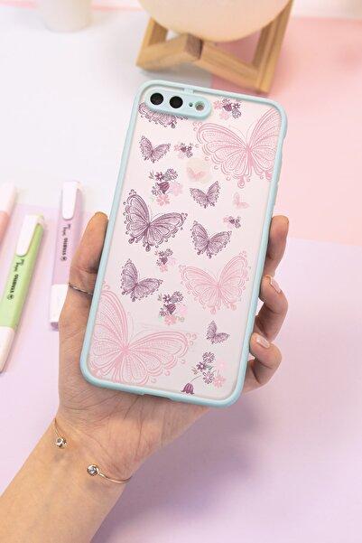 Spoyi Iphone 7 Plus - 8 Plus Mavi Hux Kelebek Tasarımlı Telefon Kılıfı
