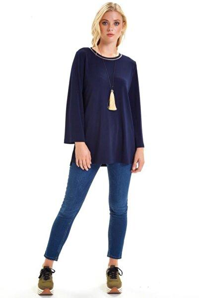İKİLER Yakası Ribanalı Eteği Yırtmaçlı Uzun Bluz 201-1013