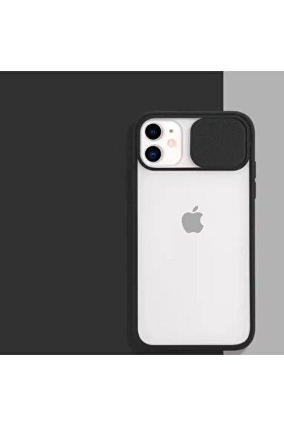 ESNAFSTORE Iphone 11 Uyumlu Kamera Koruyuculu Siyah Kılıf Slayt Korumalı Şeffaf Telefon Kılıfı