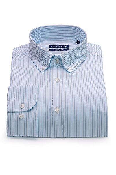 GIZA HOUSE Madison Erkek Mavi Çizgili Yaka Düğmeli Casual Fit Lüks Pamuklu Gömlek