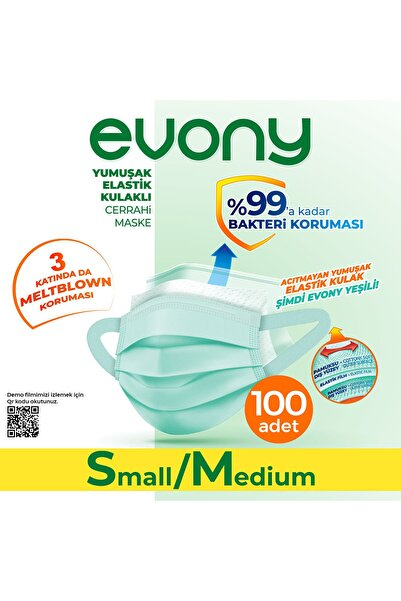 Evony Yeşil Elastik Kulaklı Small/medium 100 Adet