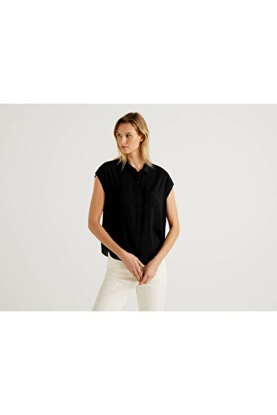 United Colors of Benetton Kadın Siyah Kolsuz Viskon Gömlek