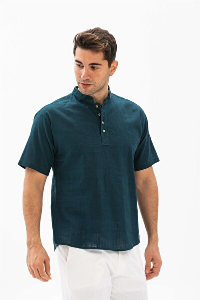 Eliş Şile Bezi Kısa Kol Şile Bezi Bodrum Erkek T-shirt Koyu Petrol