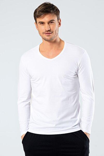 Cacharel Erkek Beyaz V Yaka Uzun Kollu T-Shirt