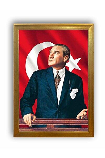 AS TİCARET Yaldız Çerçeveli Atatürk Portresi Tablo 55cmx75cm