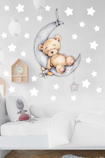 MSticker Ayda Uyuyan Sevimli Ayıcık Ve Beyaz Yıldızlar Çocuk Bebek Odası Sticker Seti