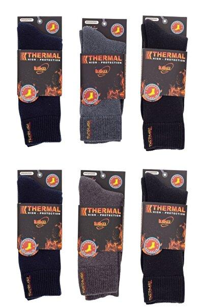Tutku Siyah Laci Kahve Gri Thermal Havlu Çorap 6'lı Paket