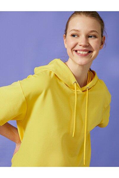 Koton Kadın Sarı Kısa Kollu Sweatshirt
