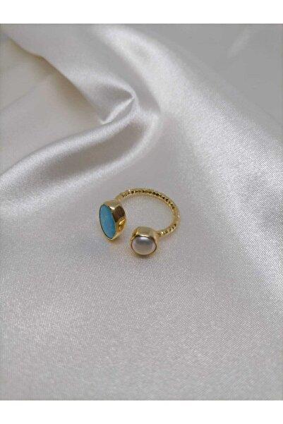 Simaria Takı 925 Ayar Gümüş Altın Kaplama Firuze Taşlı Ayarlanabilir Yüzük