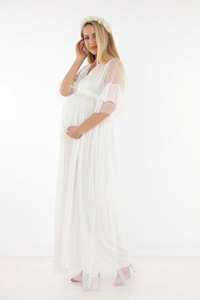 Işşıl Hamile Puanlı Tül Elbise