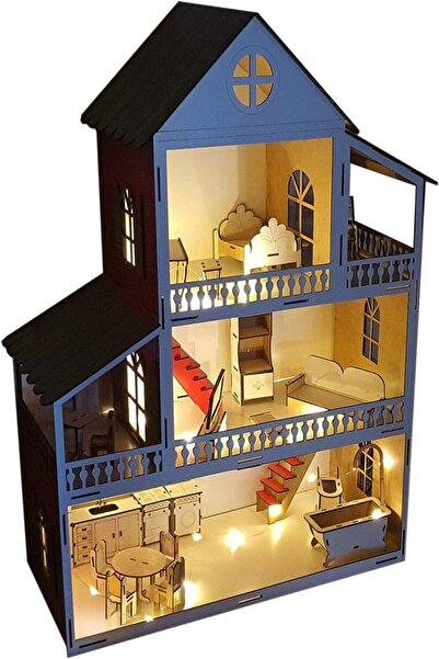 WoodyLife Led Işıklı Mavi Ev Çocuk Evcilik Oyuncak Montessori Barbi Ev