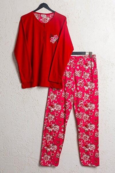 BSM Kadın Kırmızı Pamuklu Dört Mevsim Uzun Kollu Pijama Takımı