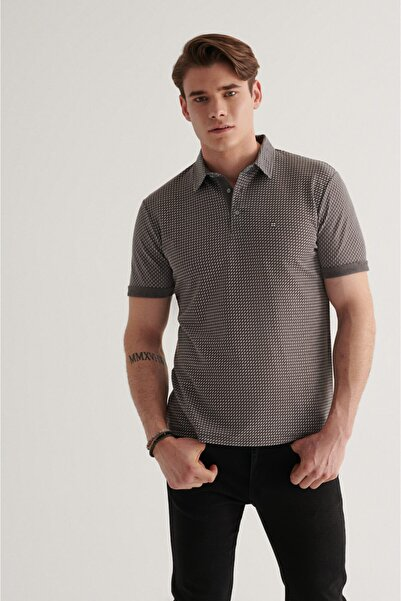 Avva Erkek Antrasit Polo Yaka Double Kol Baskılı T-shirt A11y1137