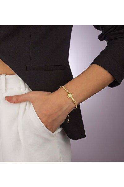 Else Silver Kadın Altın Kaplama Zincirli Kelepçe Modeli Gümüş Güneş Bileklik