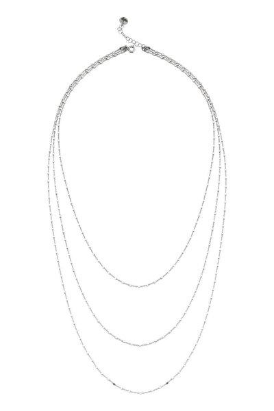 BENDİS Kadın Gümüş Katmer Aynalı Üçlü Kolye Uzun C556