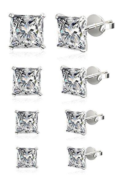 Omar Silver Unisex 4 Çift Tek Taş Beckham Zirkon Taşlı Kare Gümüş Küpe Seti 4,5,6,7 Mm Omr8238
