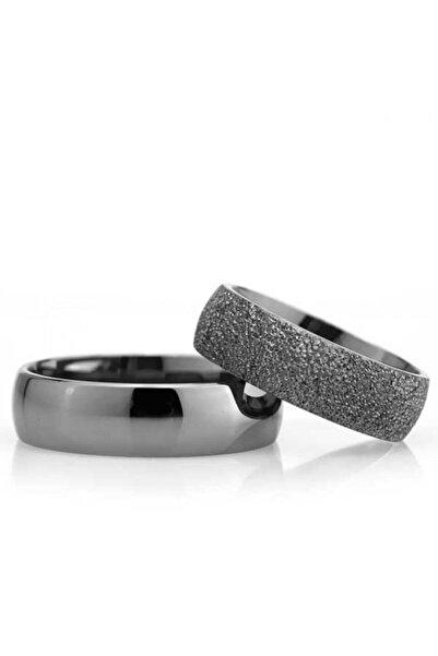Gümüşcüm Bombeli Siyah 6mm Bay Gümüş Alyans Nişan Ve Söz Yüzüğü