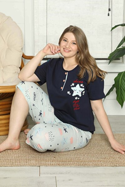 Mossta Kadın Lacivert Kısa Kollu Yıldızlı Büyük Beden Pijama Takımı