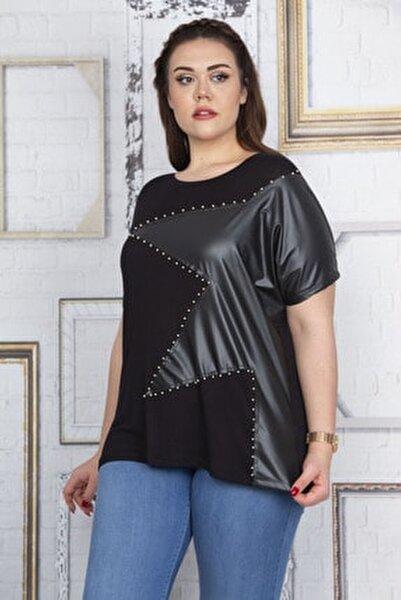 Kadın Siyah Taş Detaylı Düşük Kollu Viskon Bluz 65N22688
