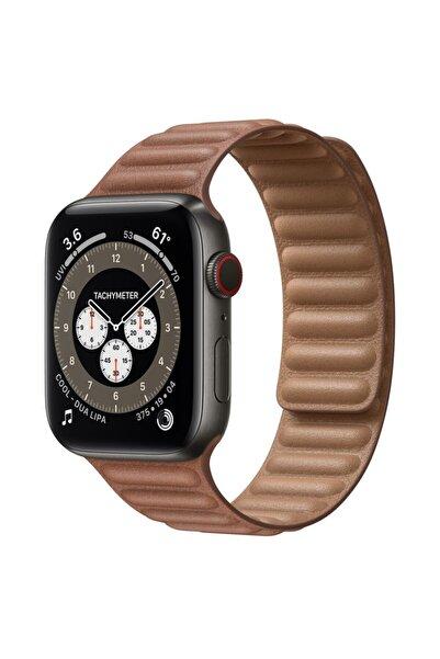 Teknoband Apple Watch Uyumlu  Leather Link Deri Kordon 42-44 mm Kordon