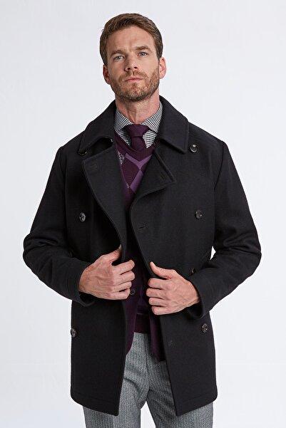 Hemington Erkek Siyah Italyan Yün Kruvaze Palto