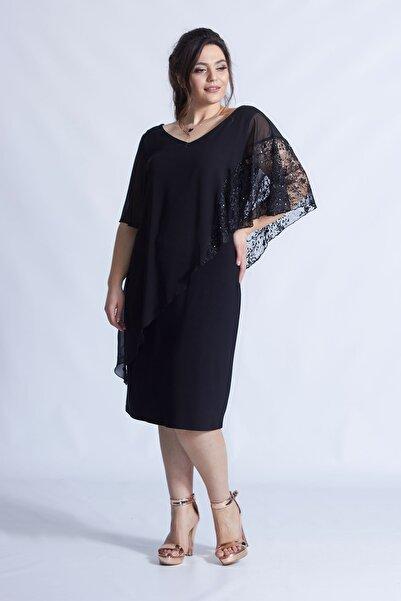 Moda Berray Siyah Pelerinli Esnek Kumaş Büyük Beden Elbise