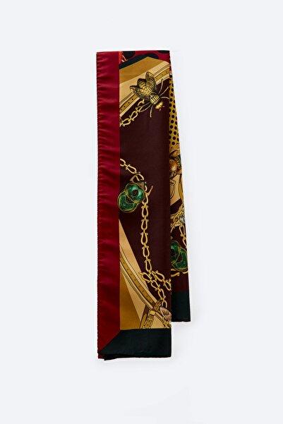 Uterqüe Kadın Burgonya Zincir Desenli Fular 01801852
