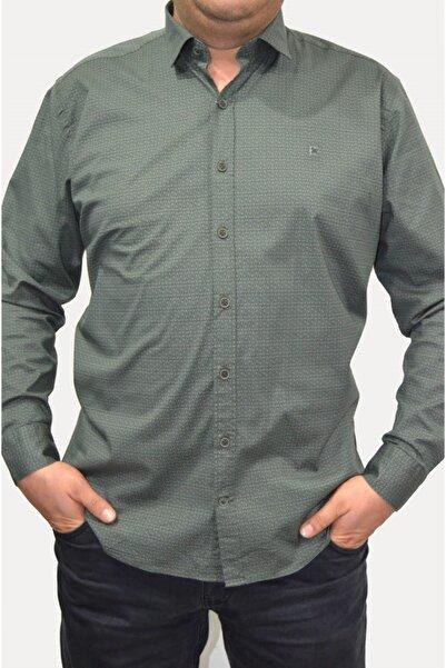 Brango Erkek Yeşil Desenli Likralı Gömlek