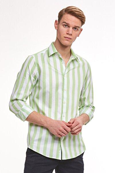 Hemington Yeşil Beyaz Kalın Çizgili Pamuk Spor Gömlek