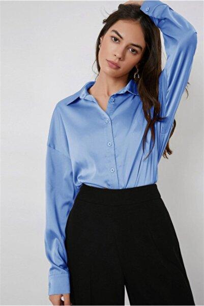 Madmext Kadın Mavi Saten Gömlek Mg920