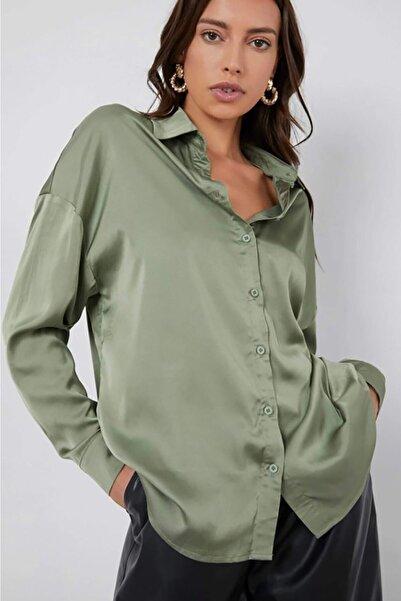 Madmext Kadın  Yeşil Saten Gömlek Mg920