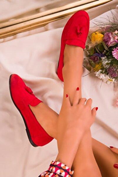 Kırmızı Süet Kadın Babet 15838