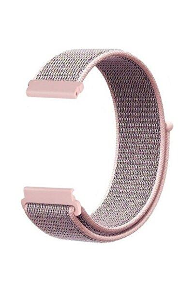 Mobicas Samsung Galaxy Watch Active 2 (20mm) Uyumlu Kumaş Desenli Çırtçırlı Kayış-kordon Rose Gold
