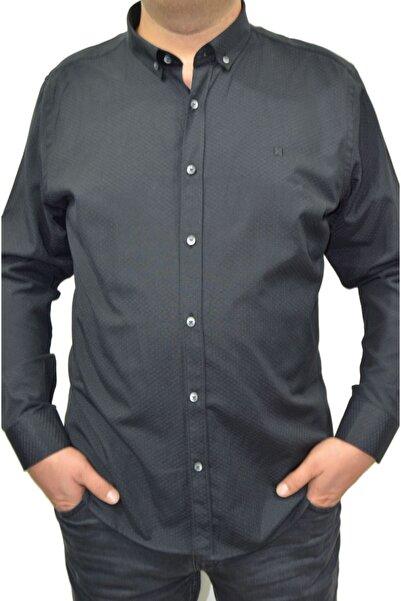 Brango Erkek Siyah Büyük Beden Petek Desenli Likralı Gömlek
