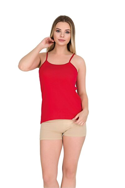 Berrak Ip Askılı Biyeli Ribana Kadın Atlet   3 Lü Paket Pamuklu Kırmızı