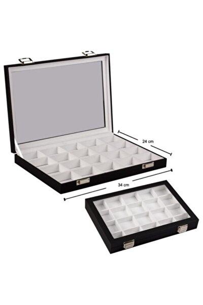IMPALA Takı Malzeme Kutusu Siyah Içi Beyaz Bölmeli Kutu