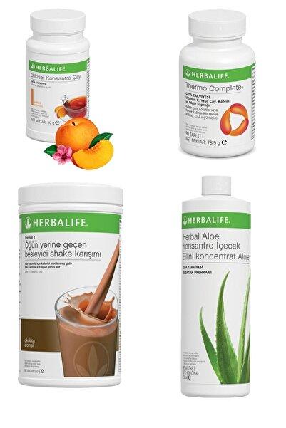 Herbalife Yağ Yakıcı Set - 1 Çikolata - 1 Şeftali Çay + Aloe Içecek + Thermo