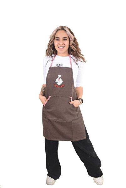 Fidan Tekstil Denizli Nakışlı Cepli Mutfak Önlüğü Kahverengi