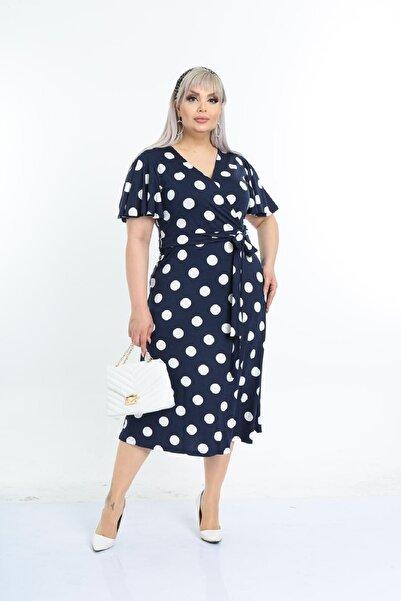 Şirin Butik Kadın Lacivert Puantiye Desenli Kruvaze Yaka Büyük Beden Elbise