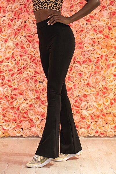 Grenj Fashion Siyah Çelikli Örme Ispanyol Paça Yüksek Bel Toparlayıcı Tayt
