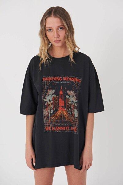Addax Kadın Füme Baskılı T-Shirt P9528 - W10 Adx-0000023822